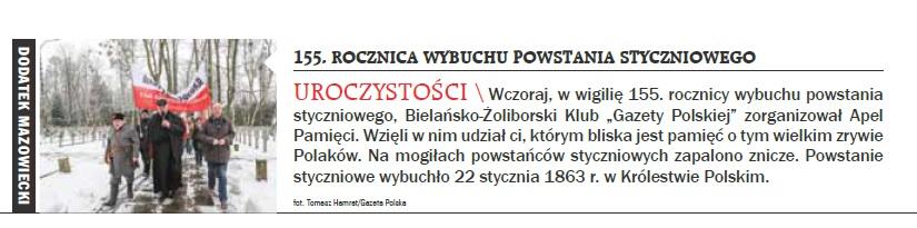 Warszawa Bielany powstanie styczniowe 2018
