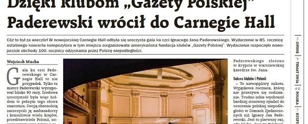 """Dzięki klubom """"Gazety Polskiej"""" Paderewski wrócił do Carnegie Hall"""