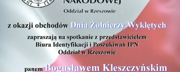 Gorzyce: Zaproszenie – Spotkanie z p. Bogusławem Kleszczyńskim oraz Msza Św. Dni Żołnierzy Wyklętych 4.03.2018