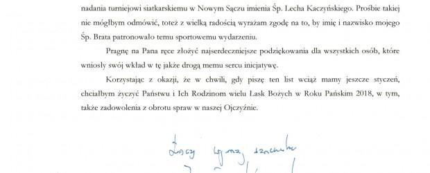 Nowy Sącz II: List od Prezesa Jarosława Kaczyńskiego – Turniej siatkarski imienia Śp. Prezydenta Prof. Lecha Kaczyńskiego