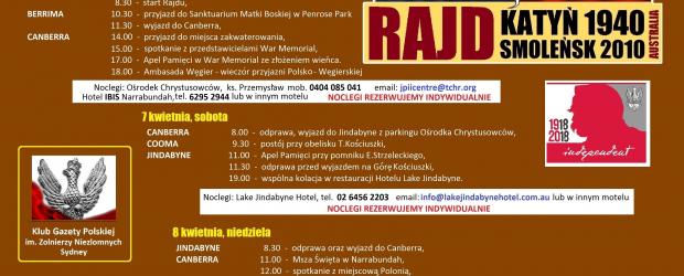 Sydney: Rajd Katyń 1940 Smoleńsk 2010 Australia 6-8.04.2018