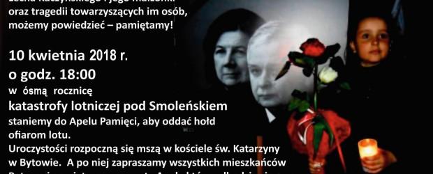 Bytów – Zaproszenie na obchody 8 rocznicy tragedii smoleńskiej, 10 kwietnia g.18.00