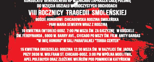 Chicago-Illinois – Zaproszenie na obchody VIII rocznicy Tragedii pod Smoleńskiem, 10 kwietnia godz. 7:00PM