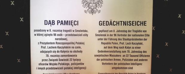 """Hamburg (Niemcy): Zaproszenie na odsłonięcie tablicy i posadzenie """"Dębu Pamięci"""""""