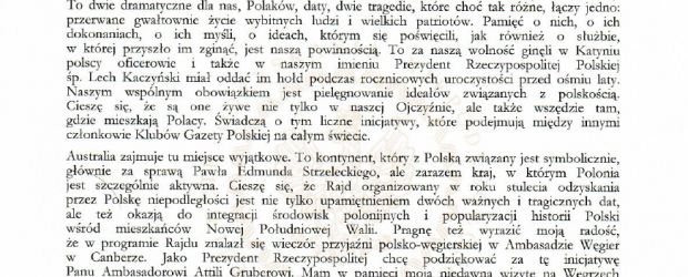 Sydney: List Prezydenta Andrzeja Dudy do uczestników i organizatorów Rajdu Katyń/Smoleńsk