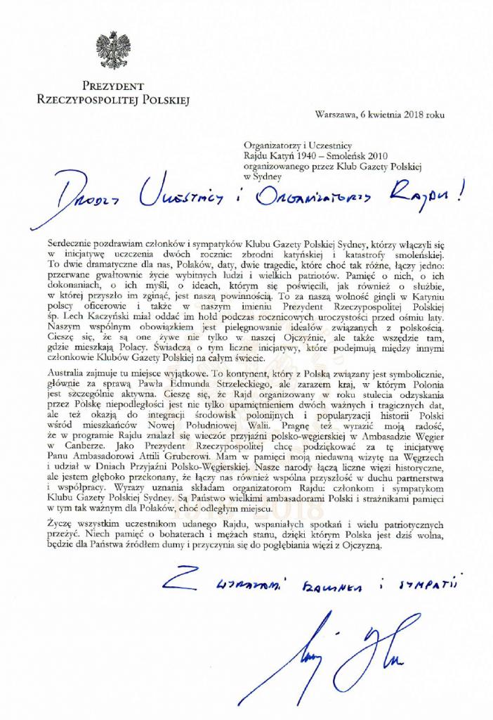 List Andrzej Duda Sydney