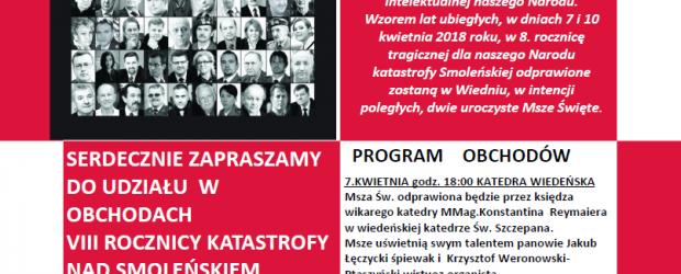 Wiedeń II – Zaproszenie na 8 rocznicę tragedii pod Smoleńskiem,