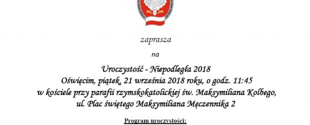 Libiąż, Oświęcim: Zaproszenie na uroczystość Niepodległa 2018 (21 września godz. 11:45)