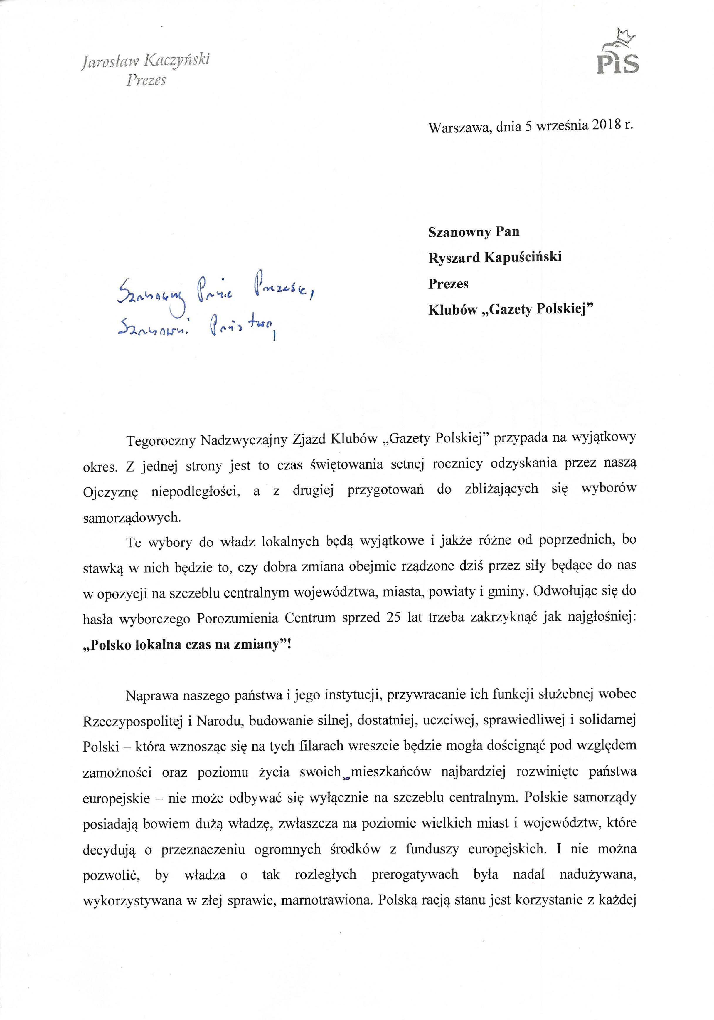 List J. Kaczynskiego 2018