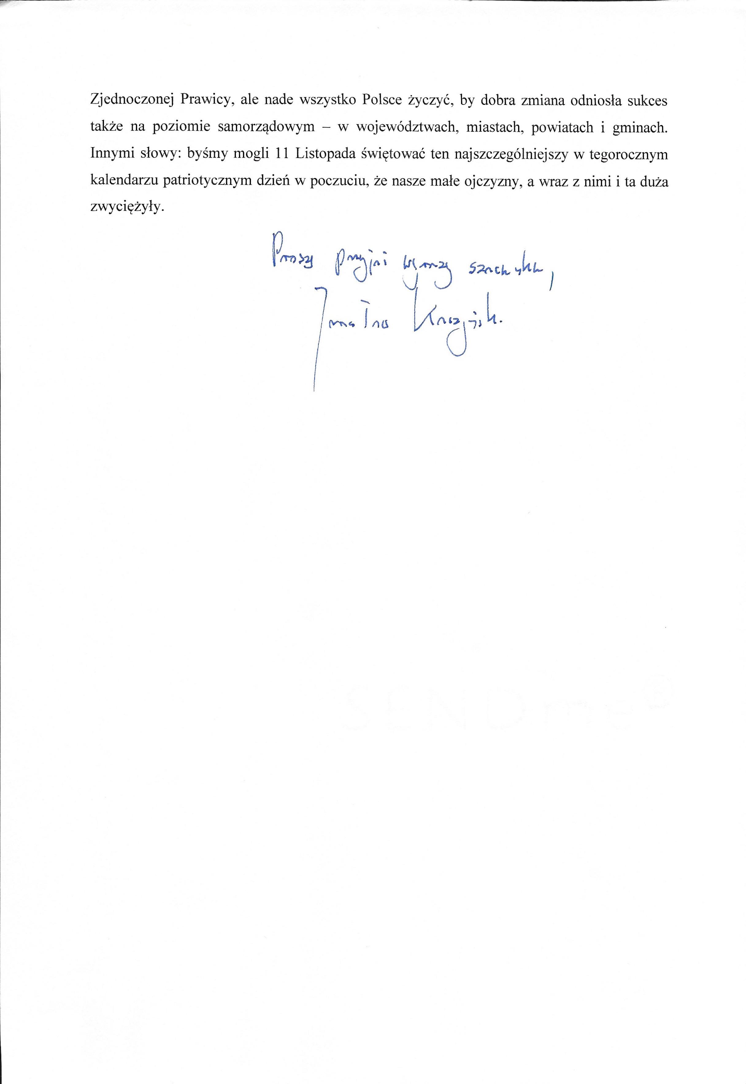 List J. Kaczynskiego 2018b