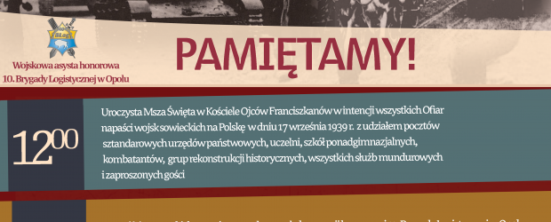 Opole: Zaproszenie na uroczystości 79 rocznicy napaści sowieckiej na Polskę.