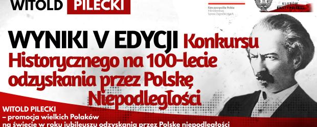 WYNIKI KONKURSU: WITOLD PILECKI – V EDYCJA Konkursu Historycznego na 100-lecie odzyskania przez Polskę Niepodległości