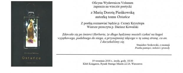 """Warszawa – wieczór poetycki z Marią Dorotą Pieńskowską autorką tomu pt."""" Ostańce"""", 19 września"""
