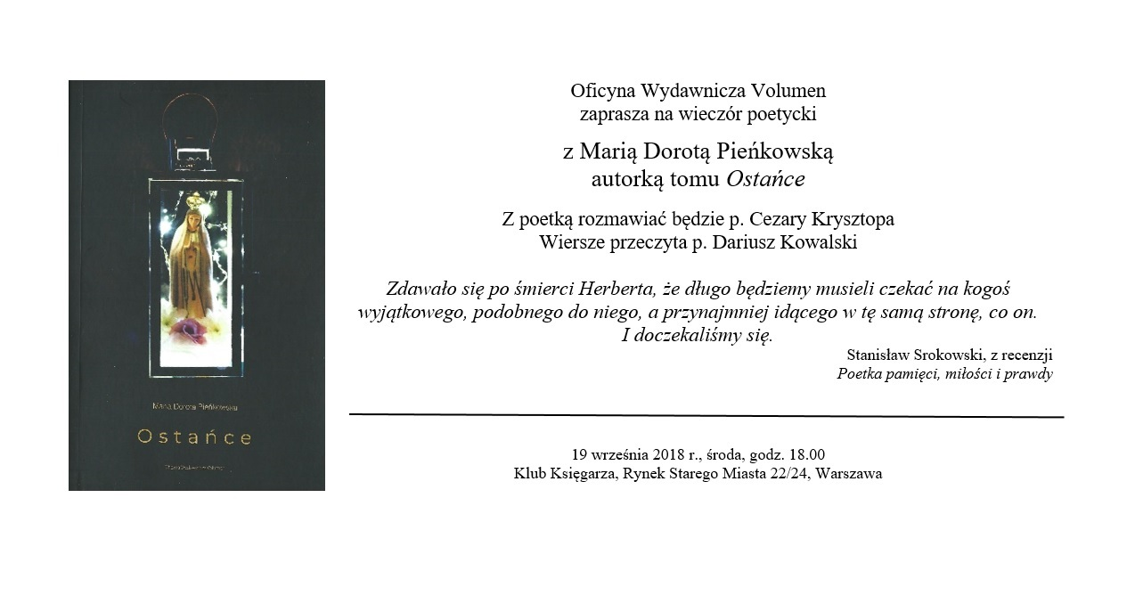 Zaproszenie Ostańce Klub Księgarza