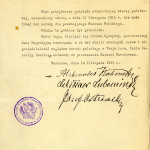 Akt przekazania władzy przez Radę Regencyjną Józefowi Piłsudskiemu  Źródło: Wikimedia Commons, domena publiczna.
