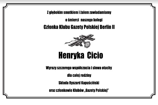 Nekrolog Henryk Cicio