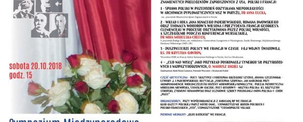 """Sympozjum Międzynarodowe  """"100-Lecie Niepodległości"""" w Ambasadzie RP w Paryżu, 20 października"""