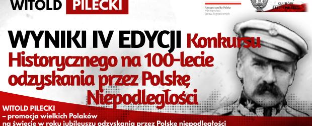 WYNIKI KONKURSU: WITOLD PILECKI – IV EDYCJA Konkursu Historycznego na 100-lecie odzyskania przez Polskę Niepodległości