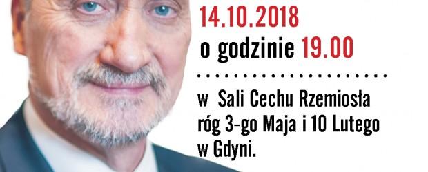Gdynia – spotkanie z Ministrem Antonim Macierewiczem, 14 października, g. 19