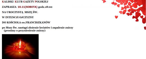 Kalisz – Zaproszenie na Mszę Św. w intencji Ojczyzny