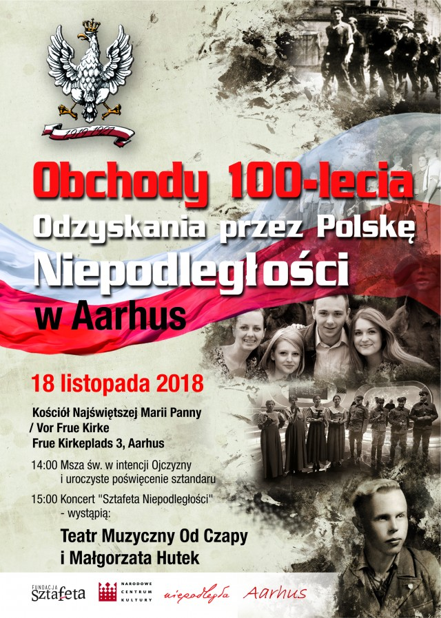PLAKAT A4 - Aarhus - Sztafeta Niepodległości - Listopad dla Niepodległej 10-11-2018