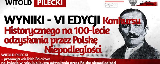WYNIKI KONKURSU: WITOLD PILECKI – VI EDYCJA Konkursu Historycznego na 100-lecie odzyskania przez Polskę Niepodległości