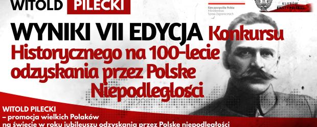 WYNIKI KONKURSU: WITOLD PILECKI – VII EDYCJA Konkursu Historycznego na 100-lecie odzyskania przez Polskę Niepodległości