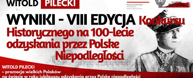 WYNIKI KONKURSU: WITOLD PILECKI – VIII EDYCJA Konkursu Historycznego na 100-lecie odzyskania przez Polskę Niepodległości