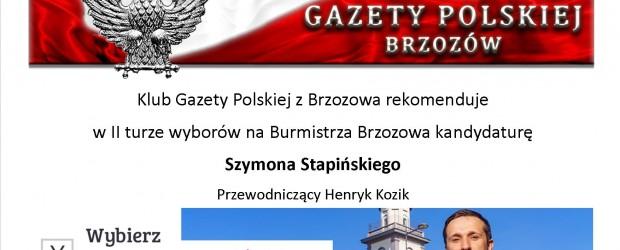 Brzozów: Klub GP rekomenduje w II turze wyborów na Burmistrza p. Szymona Stapińskiego