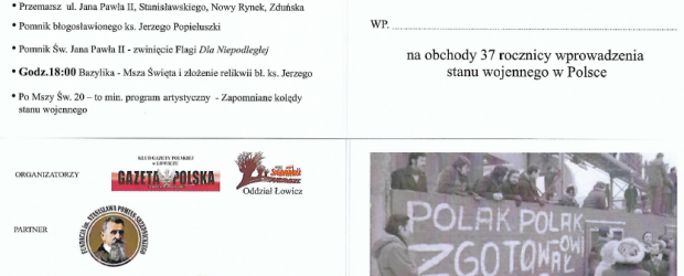 Łowicz: Zaproszenie na rocznicę stanu wojennego – 13 grudnia godz. 15:30