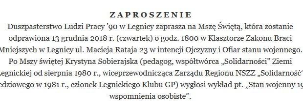 Legnica: Zaproszenie 13 grudnia godz. 18:00