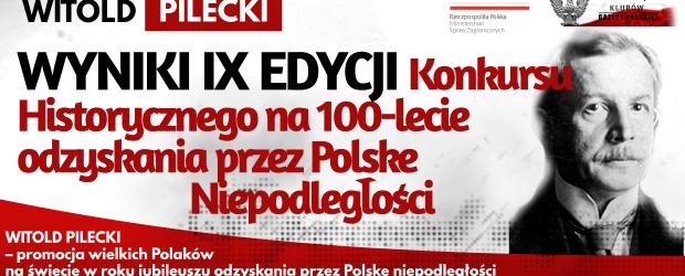 WYNIKI KONKURSU: WITOLD PILECKI – IX EDYCJA Konkursu Historycznego na 100-lecie odzyskania przez Polskę Niepodległości
