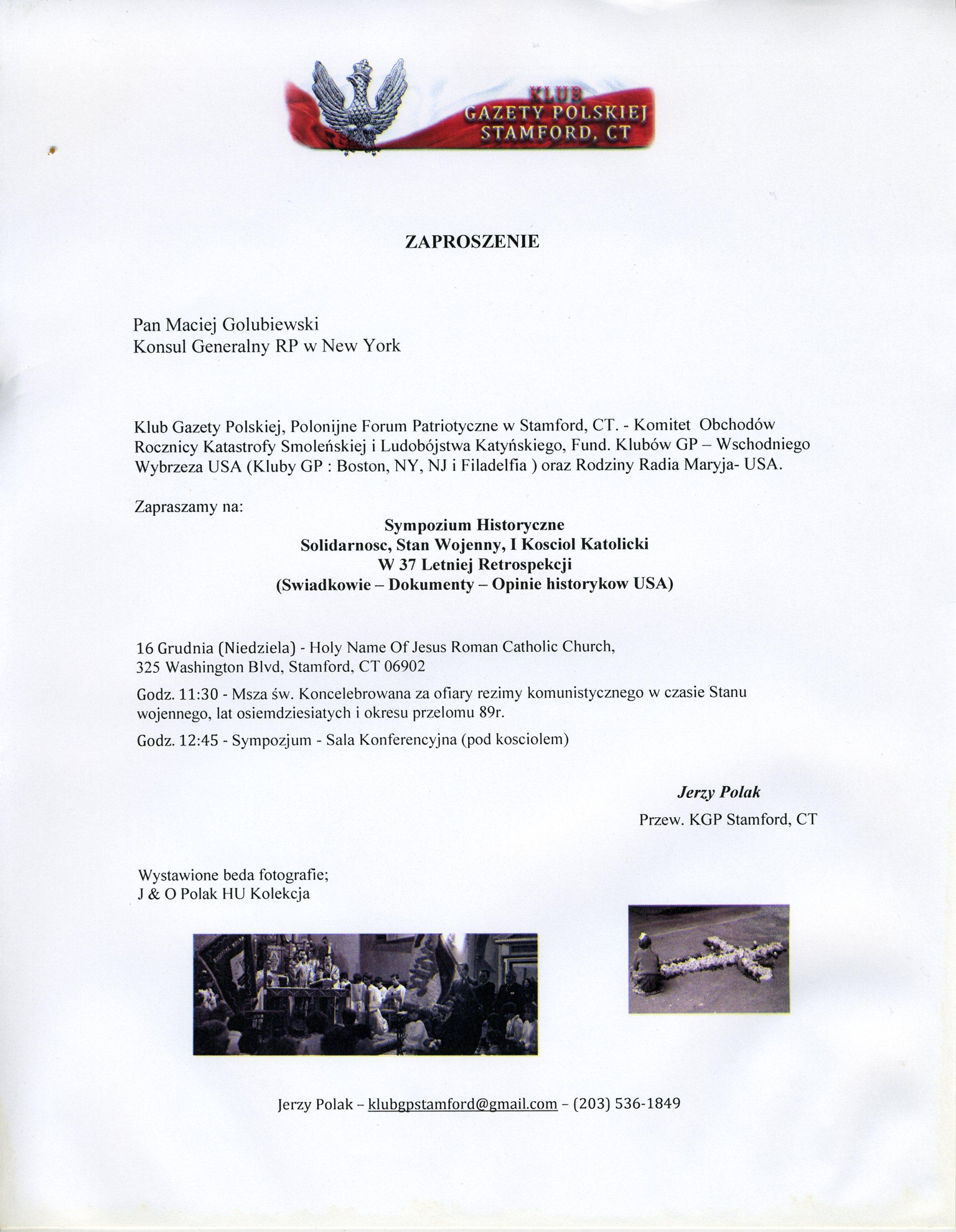 Kluby Gazety Polskiej Stamford Connecticut Usa Zaproszenie