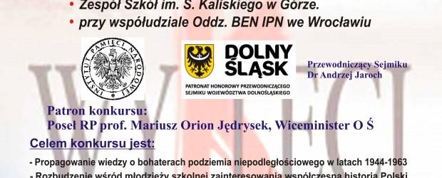 """Góra Śląska: Zaproszenie – IV Powiatowy Konkurs """"Żołnierze Wyklęci"""" 1 marca"""
