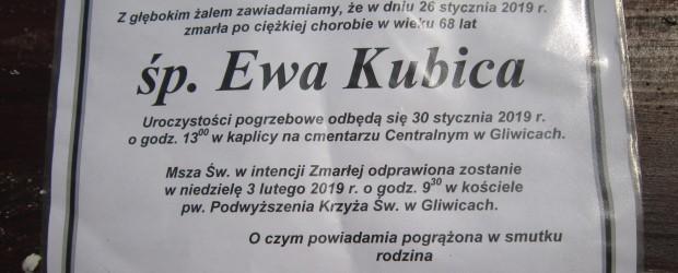 Gliwice: Wspomnienie o św. p.  Ewie Kubicy