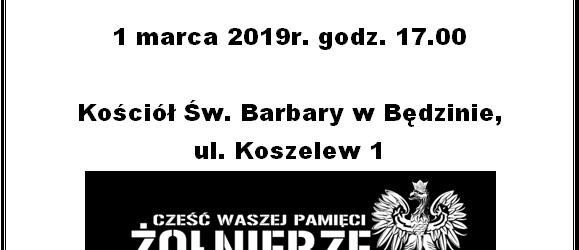 Dąbrowa Górnicza: Zaproszenie na Mszę w intencji Żołnierzy Wyklętych. 1 marca godz. 17:00