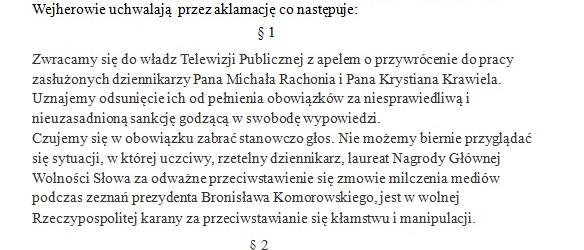 Wejherowo: Uchwała ws przywrócenia Redaktora Michała Rachonia i Krystiana Krawiela do pracy.