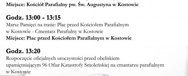 Byczyna: Zaproszenie na Uroczystości IX Rocznicy Katastrofy Smoleńskiej 6 kwietnia o godz.12:00.