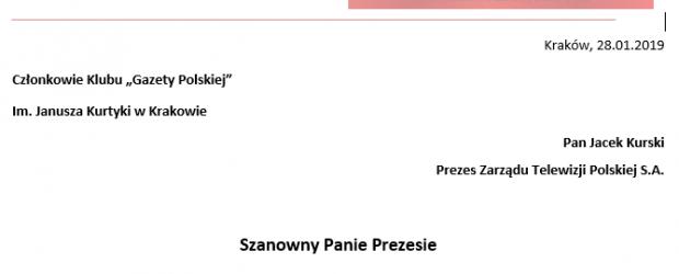 Kraków: List ws red. Michała Rachonia