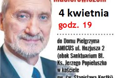 Warszawa Bielany-Żoliborz: – Zaproszenie na spotkanie z ministrem Antonim Macierewiczem. 4 kwietnia godz. 19:00