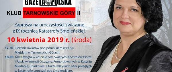 Tarnowskie Góry II: Zaproszenie na uroczystości IX rocznicy Tragedii pod Smoleńskiem. 10 kwietnia godz. 17.30