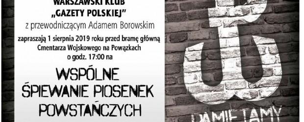 Warszawa – wspólne śpiewanie piosenek powstańczych, 1 sierpnia