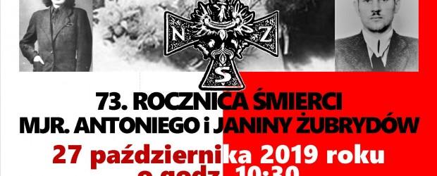 ORZECHÓWKA – 73. rocznica śmierci mjr. Antoniego i Janiny Żubrydów, 27 października