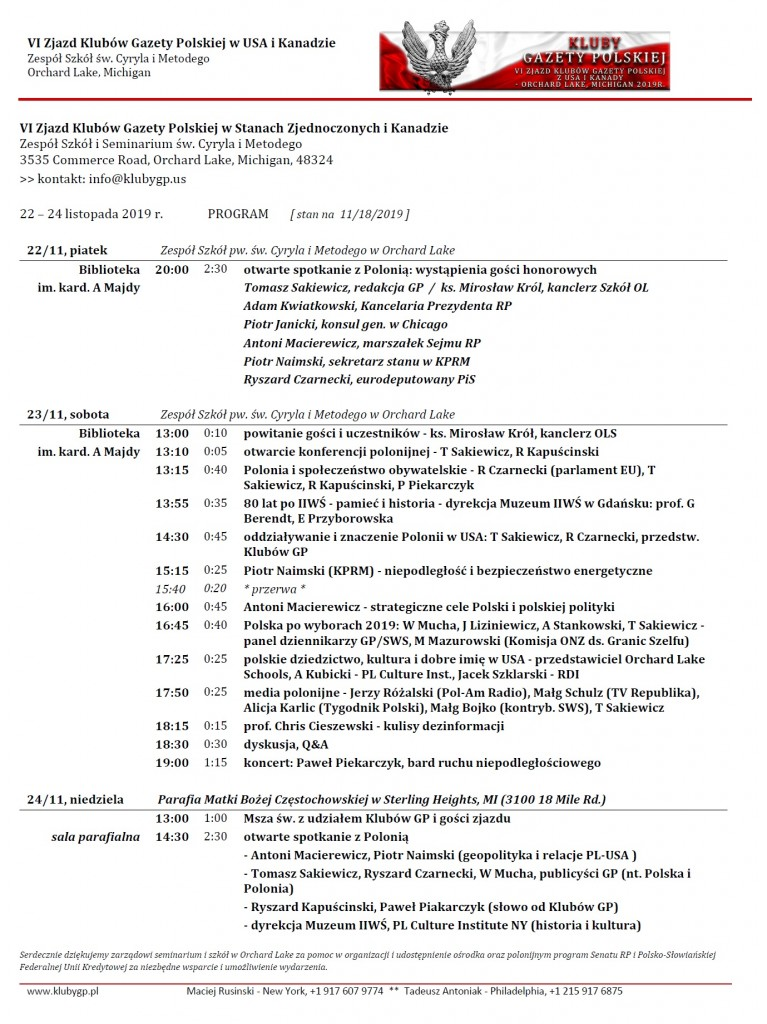 Zjazd USA 2019 - program