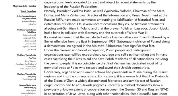 List Protestacyjny – Ambasada Federacji Rosyjskiej w Waszyngtonie