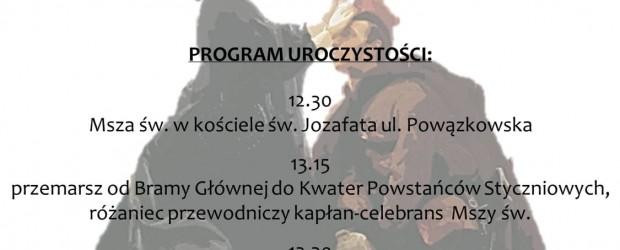 WARSZAWA – Program uroczystości 157 rocznicy Wybuchu Powstania Styczniowego, 26 stycznia:
