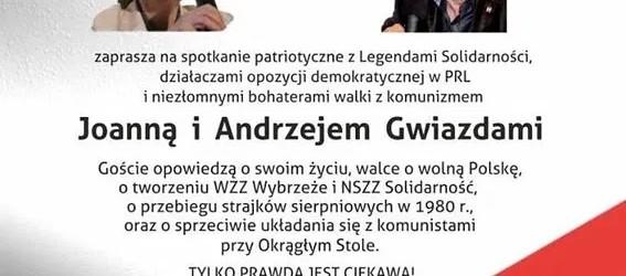 Braniewo: Spotkanie z Joanną i Andrzejem Gwiazdami (17 września, godz. 18:00)