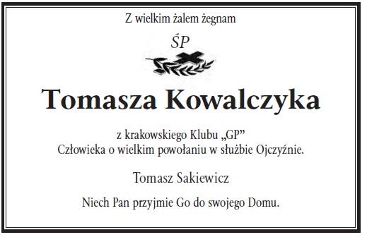 Kondolencje sp T Kowalczyk