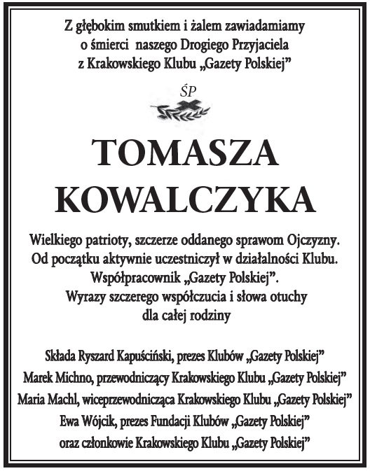 Kondolencje sp T Kowalczyk1