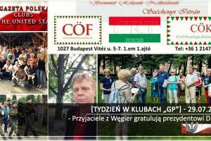 """[Tydzień w Klubach """"GP""""] Przyjaciele z Węgier gratulują prezydentowi Dudzie"""